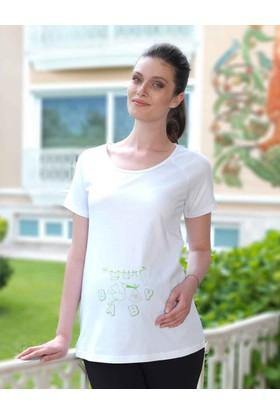 Mel Bee Leylek Baskılı Lohusa T-Shirt Beyaz Mb4502
