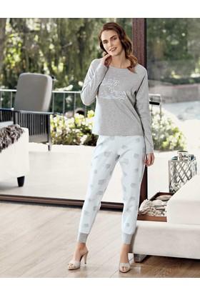 Mel Bee Bulut Baskılı Pijama Takımı Gri Mbp23609-1