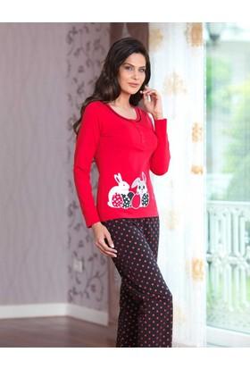 Mel Bee Düğmeli Bayan Pijama Takımı Kırmızı Mbp23029-1