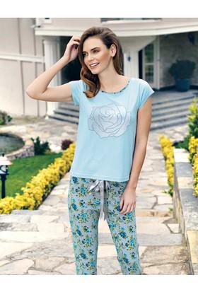 Mel Bee Gül Baskılı Kadın Pijama Takımı Mavi Mbp23337-1