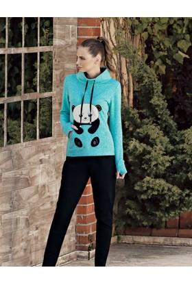 Mel Bee Panda Baskılı Kadın Pijama Takımı Mint Mbp23617-1