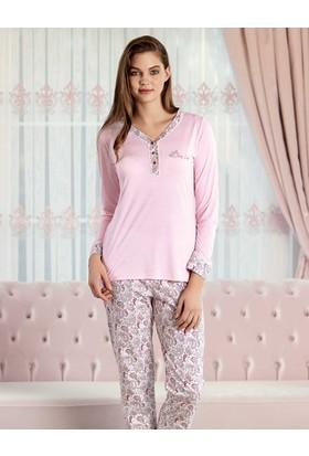 Şahinler Sal Desenli Kadın Pijama Takımı Pembe Mbp23425-1