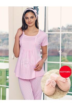 Şahinler Lohusa Pijama Emzirme Fonksiyonlu Pembe Mbp23417-1