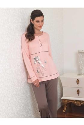 Şahinler Baskılı Bayan Pijama Takımı Pudra Mbp23109-1