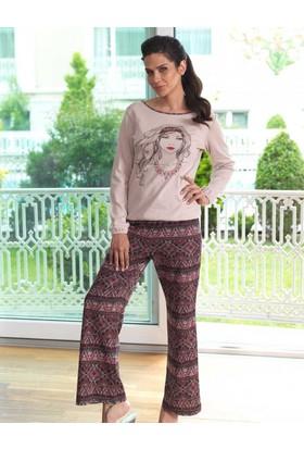 Mel Bee Baskılı Bayan Pijama Takımı Vizon Mbp23018-1