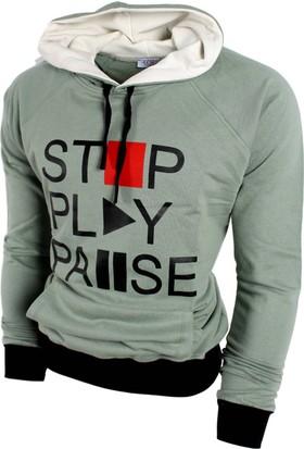 Oksit Play Pause Polar Sweatshirt Açık Yeşil