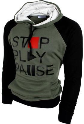 Oksit Play Pause Polar Sweatshirt Haki