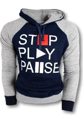 Oksit Play Pause Polar Sweatshirt İndigo - Gri