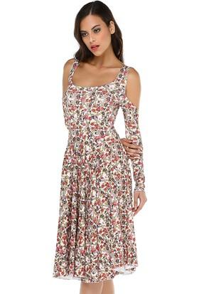 Quincey Kadın Omuz Detaylı Midi Elbise