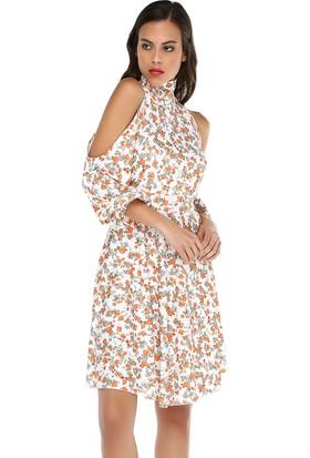 Quincey Kadın Omuz Ve Sırt Dekolteli Midi Elbise