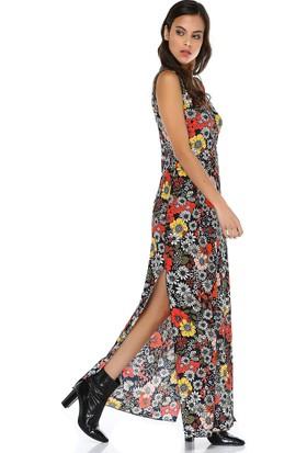 Quincey Kadın Kruvaze Yaka Biyeli Maxi Elbise