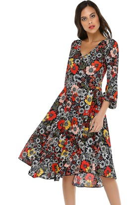 Quincey Kadın V Yaka Midi Elbise