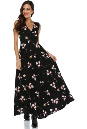 Quincey Kadın Desenli Anvelop Elbise