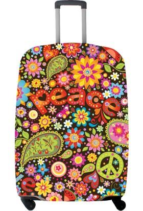 My Saraciye Valiz Kılıfı Kabin Boy İçin Kılıf Çiçekler-S Renkli