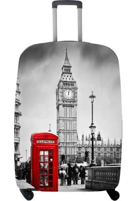 My Saraciye Valiz Kılıfı Kabin Boy İçin Kılıf London-S Gri