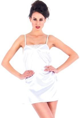 Vixson Nightwear Beyaz Saten Gecelik