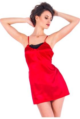 Vixson Nightwear Kırmızı Saten Gecelik