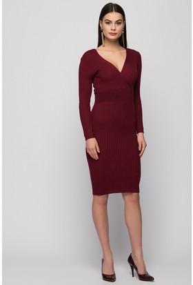 Moda Shop Kruvaze Yaka Triko Elbise