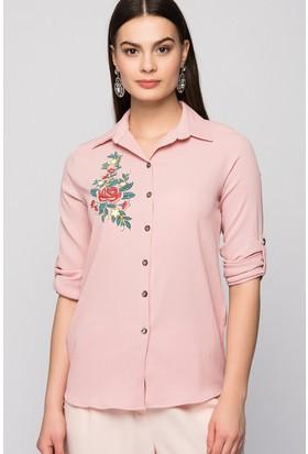 Moda Shop Gül Nakışlı Krep Gömlek