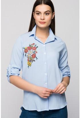 Moda Shop Çiçek Nakışlı Krep Gömlek