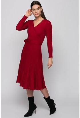 Moda Shop V Yaka Piliseli Triko Elbise