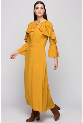 Moda Shop Yaka Detay Uzun Elbise