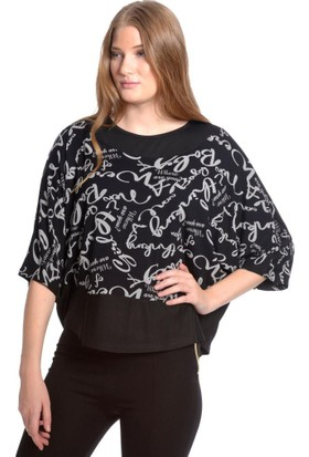 Modawek Baskılı Yarasa Kol Bluz Siyah