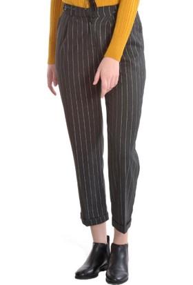 Modawek Çizgili Cigarette Pantolon Füme