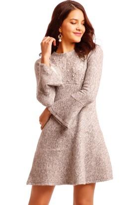 Modawek İnci Detay Volanlı Elbise Gri 191