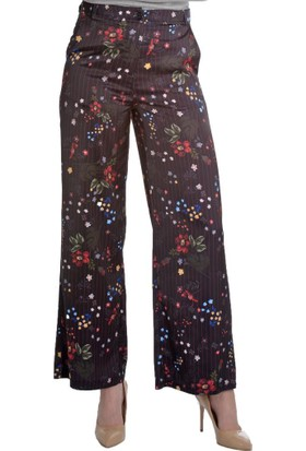 Modawek İspanyol Paça Saten Pantolon Siyah