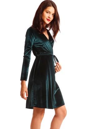 Modawek Önü Çapraz Kadife Elbise Zümrüt 0054