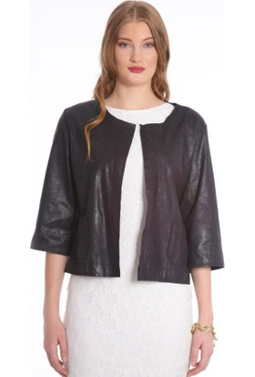 Modawek Süet Görünümlü Kısa Ceket Siyah 10225
