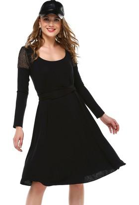 Quincey Kadın Omuzu Zırh Detay Triko Elbise