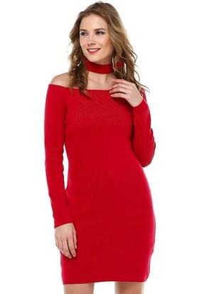 FullaModa Yaka Detaylı Elbise 18KROBİN0031