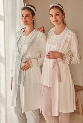 Feyza 3216 Lohusa Üçlü Pijama Takımı + Saç Bandı