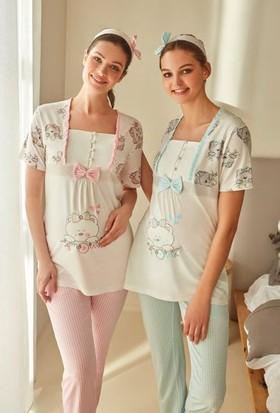 Feyza 3243 Lohusa İkili Pijama Takımı + Saç Bandı