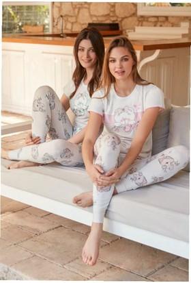 Feyza 3249 Kadın Ayıcıklı Kısa Kollu Pijama Takımı