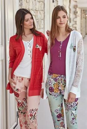 Feyza 3259 Kadın Üçlü Hırkalı Pijama Takımı