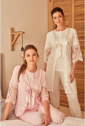 Feyza 3265 Kadın Üçlü Lizözlü Pijama Takımı