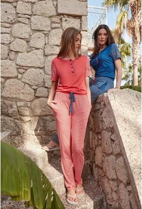 Feyza 3269 Kadın Alt Çizgili Pijama Takımı