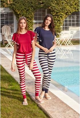 Feyza 3277 Kadın Çizgili Taytlı Pijama Takımı