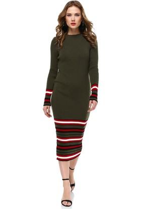 Nil Alt Çizgili Basic Elbise