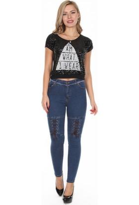 Moda Rota Ynr-546-4002 Diz Bağcıklı Bayan Pantolon