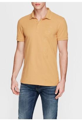 Mavi Baskılı Sarı Polo T-Shirt