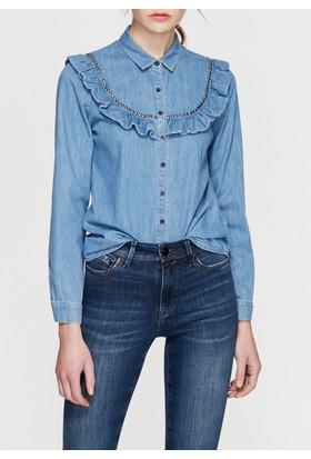 Mavi Fırfırlı Denim Gömlek