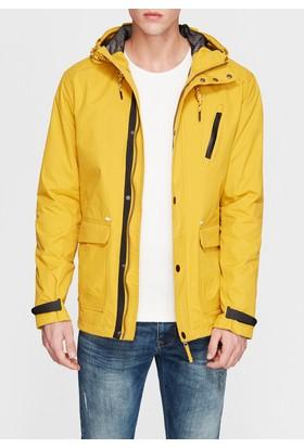 Mavi Kapüşonlu Sarı Ceket