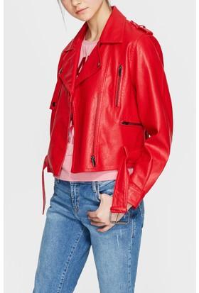 Mavi Kırmızı Biker Ceket