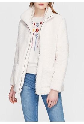 Mavi Peluş Beyaz Sweat Ceket