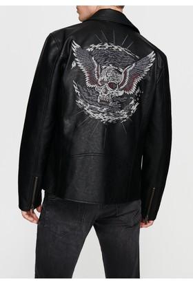 Mavi Siyah Nakışlı Biker Ceket