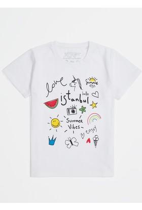 Mavi Summervibes Baskılı Beyaz Istanbul T-Shirt